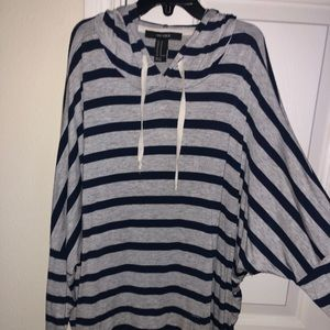 Forever 21 Navy and Grey Striped Hoodie